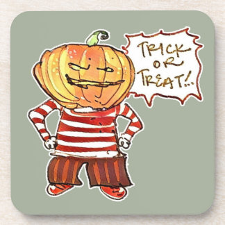 pumpkin head kid say trick or treat halloween coaster