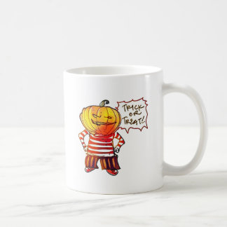 pumpkin head kid say trick or treat halloween coffee mug