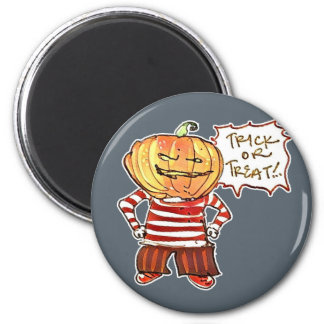 pumpkin head kid say trick or treat halloween magnet