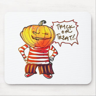 pumpkin head kid say trick or treat halloween mouse pad