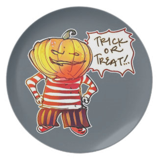 pumpkin head kid say trick or treat halloween party plate