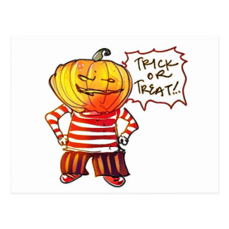 pumpkin head kid say trick or treat halloween postcard