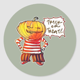 pumpkin head kid say trick or treat halloween round sticker