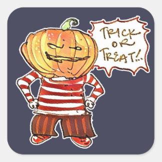 pumpkin head kid say trick or treat halloween square sticker