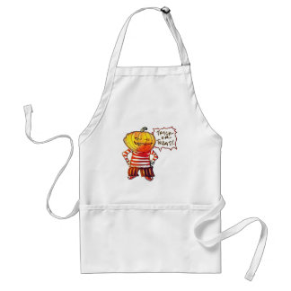 pumpkin head kid say trick or treat halloween standard apron