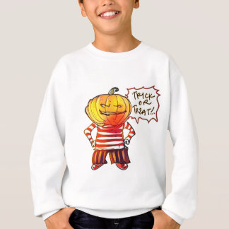 pumpkin head kid say trick or treat halloween sweatshirt