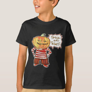 pumpkin head kid say trick or treat halloween T-Shirt
