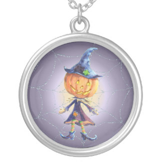 PUMPKIN HEAD & SPIDER WEB by SHARON SHARPE Silver Plated Necklace