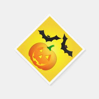 Pumpkin Jack and Bat Yellow Disposable Napkin