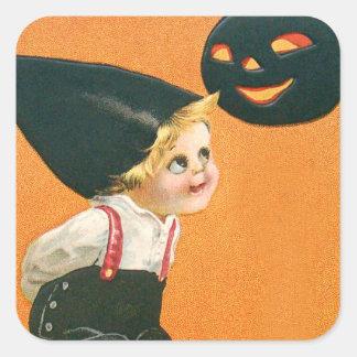 Pumpkin Jack O Lantern Boy Square Sticker