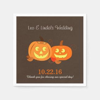 Pumpkin Jack O Lantern Bride Groom Wedding Napkins