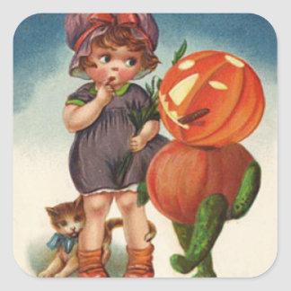 Pumpkin Jack O Lantern Cat Girl Square Sticker