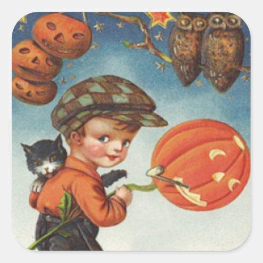 Pumpkin Jack O Lantern Cat Owl Boy Sticker
