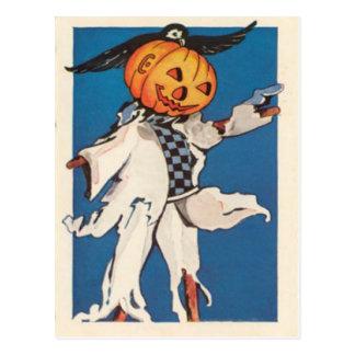 Pumpkin Jack O Lantern Scarecrow Crow Postcard