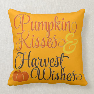 Pumpkin Kisses And Harvest Wishes Throw Pillow