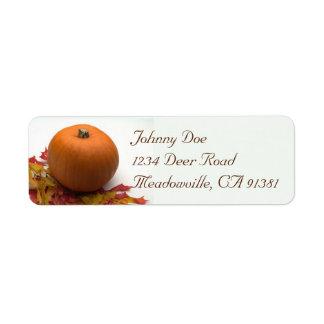 Pumpkin & Leaves Avery Label Return Address Label