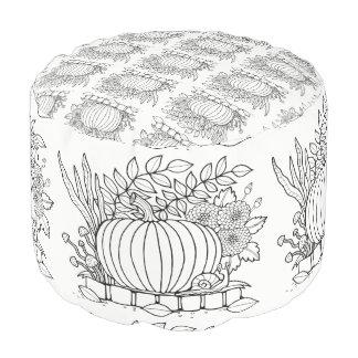 Pumpkin Line Art Design Pouf