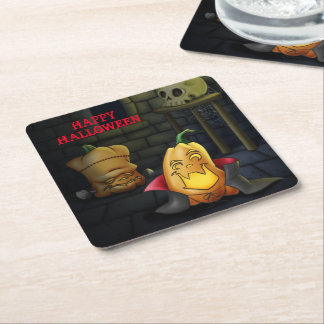 Pumpkin Monsters Halloween Paper Coasters