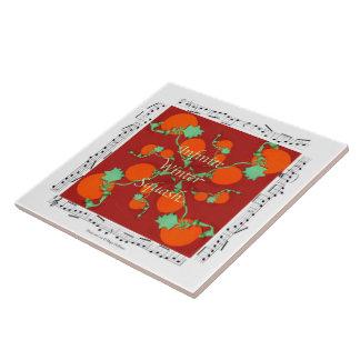 "Pumpkin + Music Decorative Tile 6""x6"""
