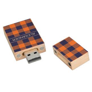 Pumpkin Navy Buffalo Check Plaid Name Monogram Wood USB Flash Drive