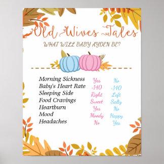 Pumpkin Old Wives Tales Gender Reveal Board Poster