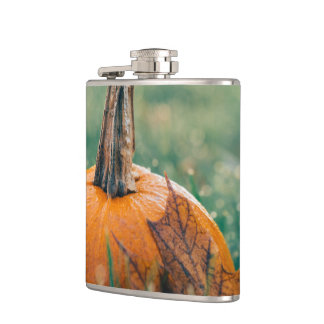 Pumpkin on the Grass Hip Flask
