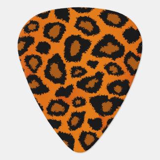 Pumpkin Orange And Black Leopard Pattern Guitar Pick