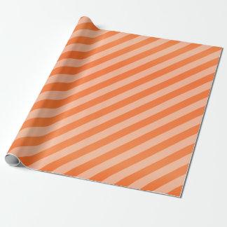 Pumpkin Orange and Diagonal Stripes Wrapping Paper