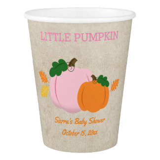 Pumpkin Orange and Pink Autumn Paper Cup