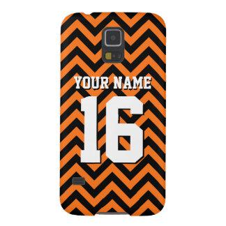 Pumpkin Orange Black Chevron Sports Jersey Case For Galaxy S5