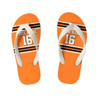 Pumpkin Orange Blk Team Jersey Custom Number Name Kid's Flip Flops