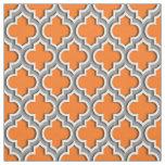 Pumpkin Orange, Dark Grey Moroccan Quatrefoil #5DS Fabric