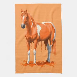 Pumpkin Orange Dripping Wet Paint Horse Kitchen Towel