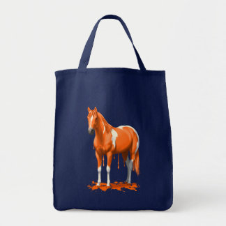 Pumpkin Orange Dripping Wet Paint Horse Tote Bag