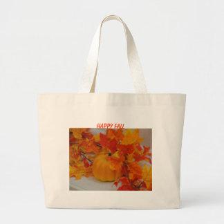 Pumpkin&Orange Leaves Arrangement, HAPPY FALL Tote Bags