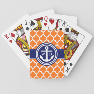 Pumpkin Orange Moroccan #5 Anchor Navy Blue 2 Init Playing Cards