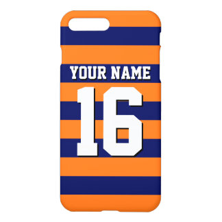 Pumpkin Orange Navy Blue Team Jersey Preppy Stripe iPhone 7 Plus Case