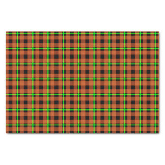 Pumpkin Orange & Neon Green Tartan Tissue Paper