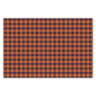 Pumpkin Orange & Purple Tartan Tissue Paper