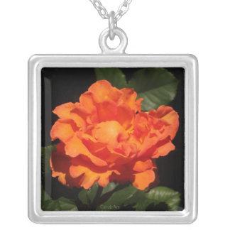 Pumpkin Orange Rose Silver Plated Necklace