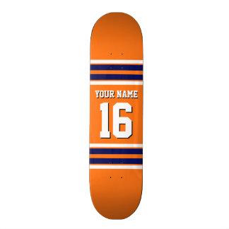 Pumpkin Orange with Navy White Stripes Team Jersey Skate Board Decks