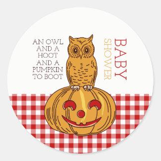 Pumpkin Owl & Gingham Baby Shower Classic Round Sticker
