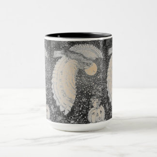 Pumpkin Owl Moon Pattern Mug
