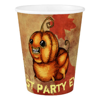 Pumpkin party monster autumn leaf paper cups