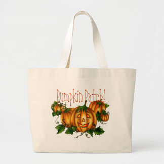 PUMPKIN PATCH by SHARON SHARPE Large Tote Bag