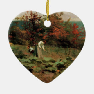 pumpkin-patch ceramic heart ornament