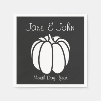 Pumpkin Patch in Black Napkins Disposable Napkin