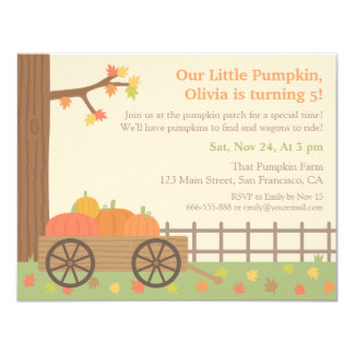 Pumpkin Patch Kids Birthday Party Invitations