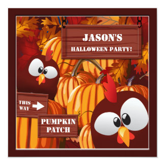 """Pumpkin Patch Kid's Halloween Party 5.25"""" Square Invitation Card"""