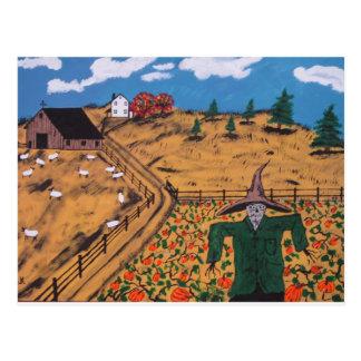 Pumpkin Patch Scarecrow Postcard
